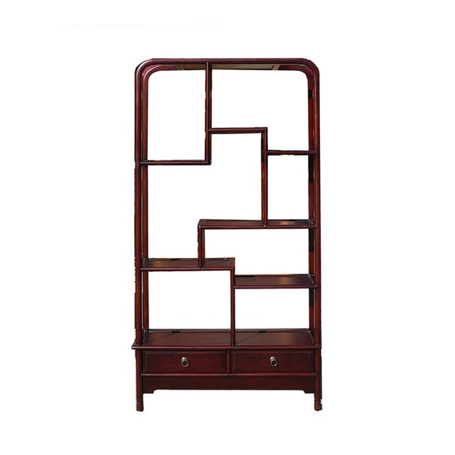 Oriental Uneven Open Curio Display Cabinet For Sale - Image 5 of 5