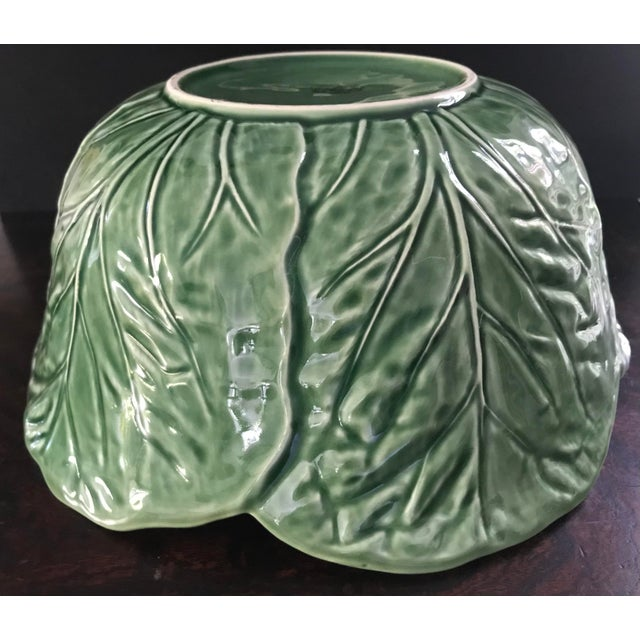 Green 1980s Large Bordallo Pinheiro Majolica Green Cabbage Leaf Salad Bowl For Sale - Image 8 of 9
