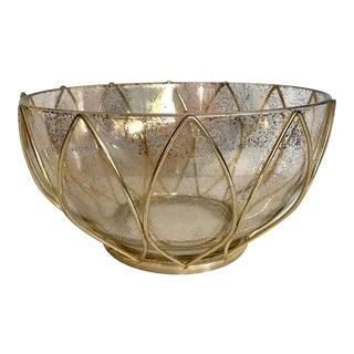 1950s Vintage Atomic Gold Splatter Bowl With Metal Base For Sale