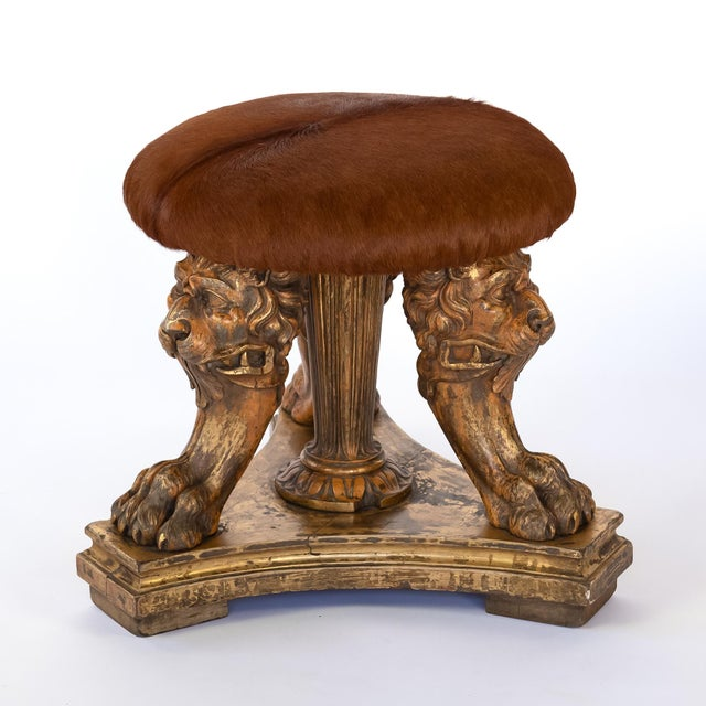 19th Century 19th Century Elements Tripod Stool With Animate Carved Lion's Head & Paws For Sale - Image 5 of 10