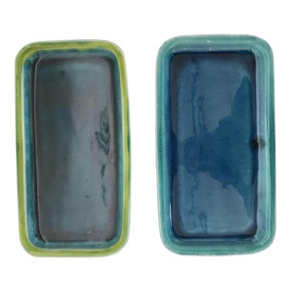 Contemporary Staprans Design Two-Tone Rectangular Trays - a Pair For Sale