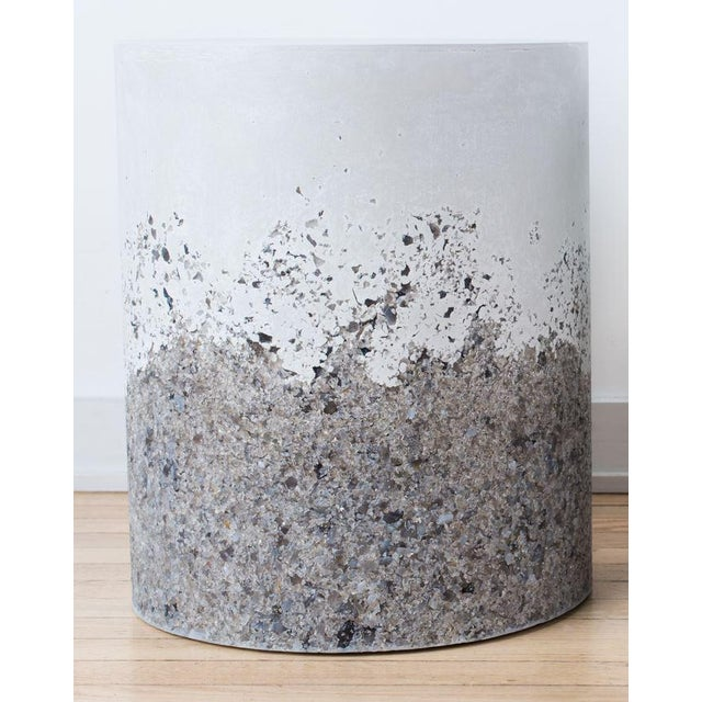Not Yet Made - Made To Order Hand Made Grey Agate and White Plaster Drum, Side Table by Samuel Amoia For Sale - Image 5 of 5