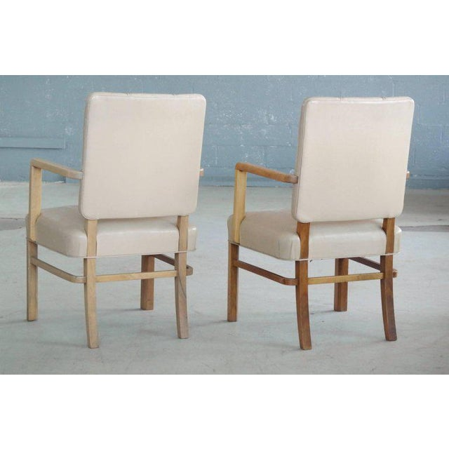 Beige Pair of Danish Midcentury Executive Desk or Side Chairs in Beige Leather For Sale - Image 8 of 9