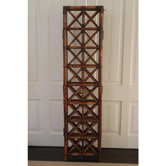 Vintage Bamboo Rattan Folding Room Divider For Sale - Image 10 of 12