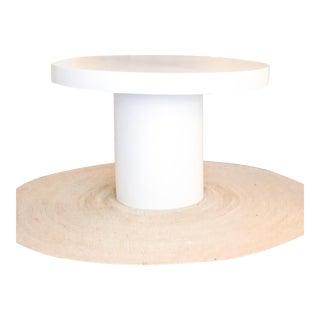 Minimalist Round White Concrete Drum Pedestal Base Table For Sale