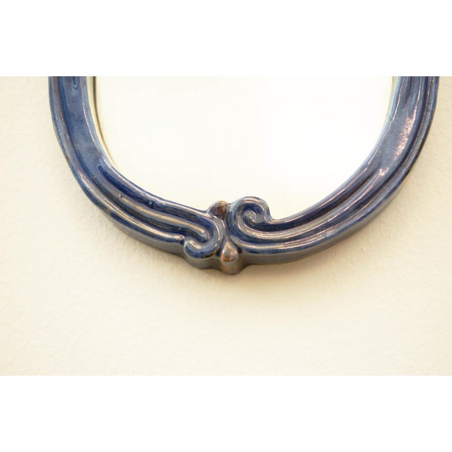 Art Deco Blue Art Deco wall mirror with ceramic by Gmundner Keramik For Sale - Image 3 of 7