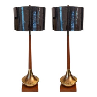 Midcentury Modern Tall Brass & Walnut Lamps, a Pair For Sale