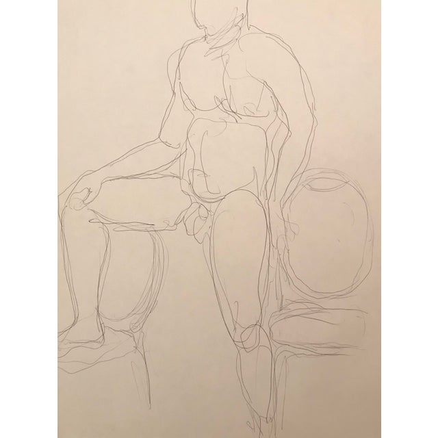Contemporary 20th Century Contemporary Drawing of a Muscular Male Nude Model by James Frederic Bone For Sale - Image 3 of 3