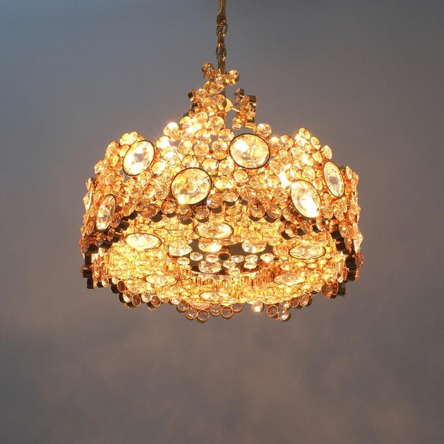 Palwa Crystal Glass Gold-Plated Brass Chandelier Refurbished Lamp For Sale - Image 9 of 12