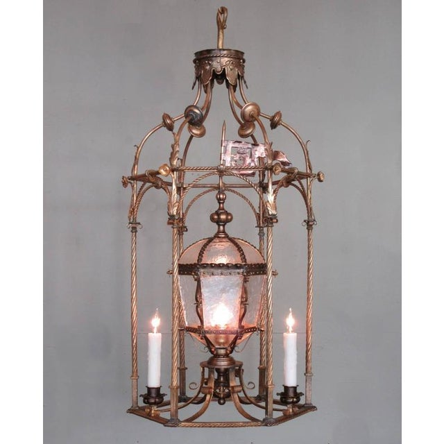 Copper 19th Century Italian Venetian Gilt Tole Lantern with Oil Lamp For Sale - Image 7 of 7