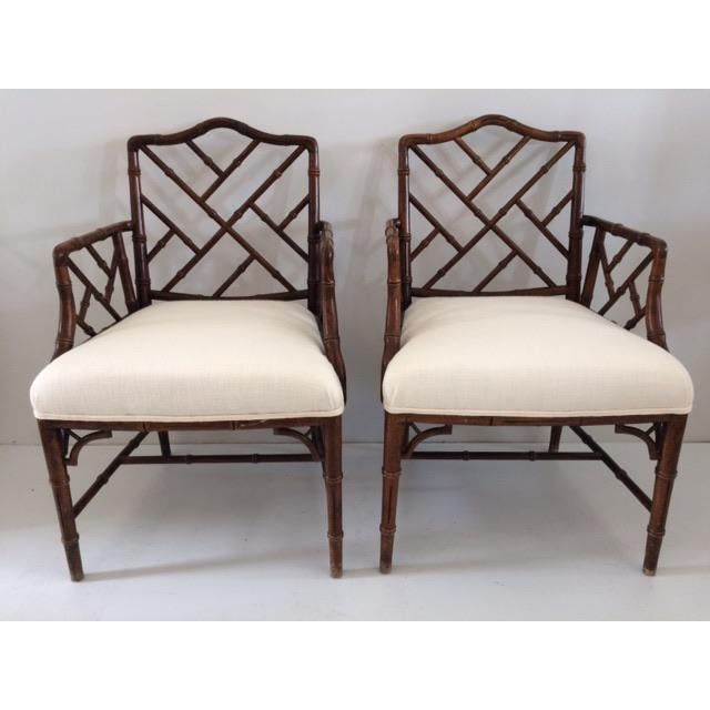 1980s Vintage Faux Bamboo Arm Chairs- A Pair For Sale - Image 13 of 13