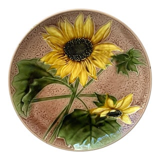 1900s Majolica Sunflower Platter by Villeroy & Boch For Sale