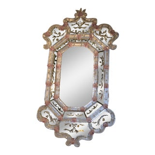 Glass Pink Flower Wall Mirror For Sale