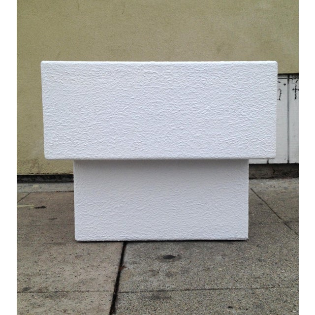 Architectonic Textured Plaster Side Tables, Pair - Image 5 of 7