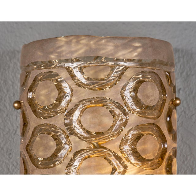 Contemporary Modernist Murano Glass Stamped Sconces - a Pair For Sale - Image 3 of 10
