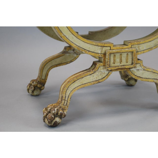 French Painted & Gilded Wood Stool With X Form Base For Sale - Image 4 of 6