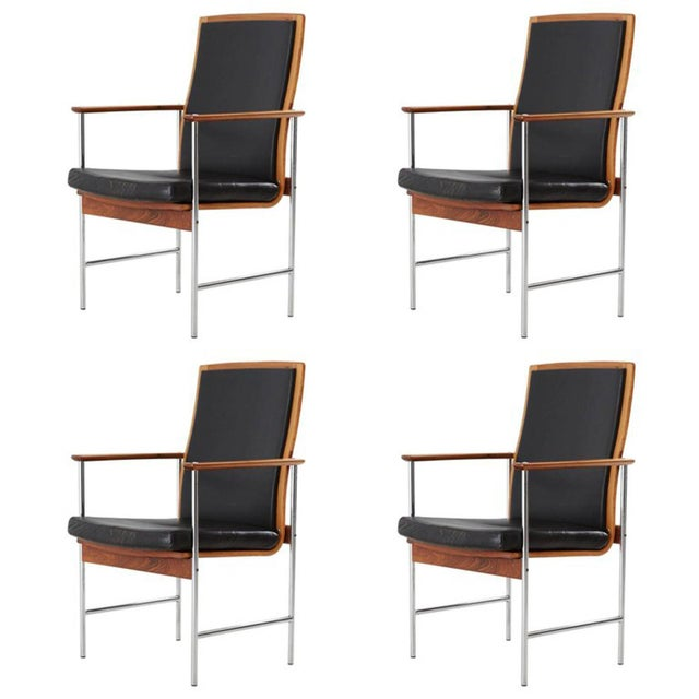 Blue Set of Four Finnish Rosewood Armchairs For Sale - Image 8 of 8