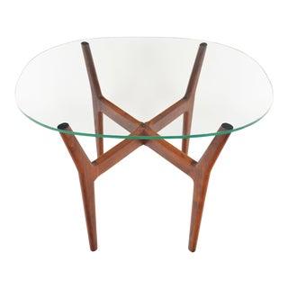 Danish Modern Walnut + Glass Coffee Table