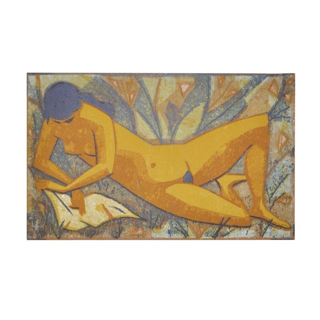 Mid-Century Nude Figure Color Lithograph Print - Image 1 of 9