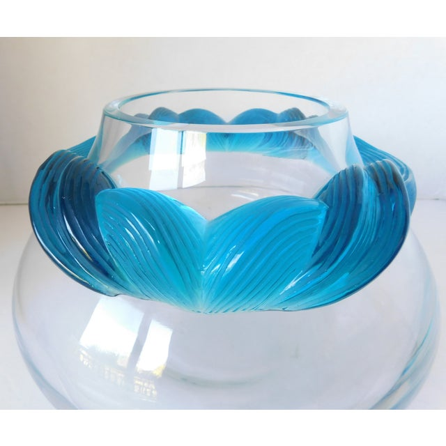 1980s Turquoise and Clear Crystal Vase/Vessel For Sale - Image 4 of 13