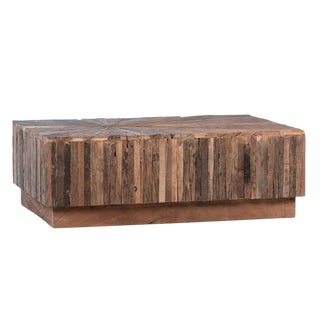 Salvaged Wood Block Coffee Table For Sale