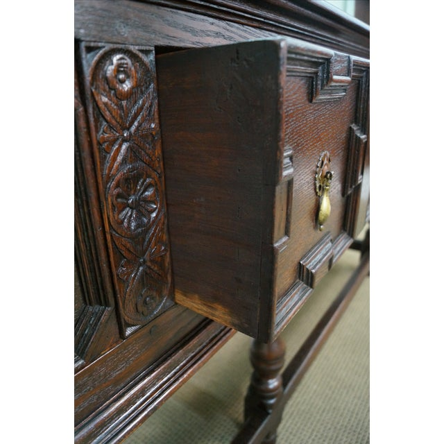 Antique Solid Oak Jacobean Style Sideboard - Image 7 of 10