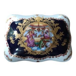 Sevres Blue Porcelain Dresser Box For Sale