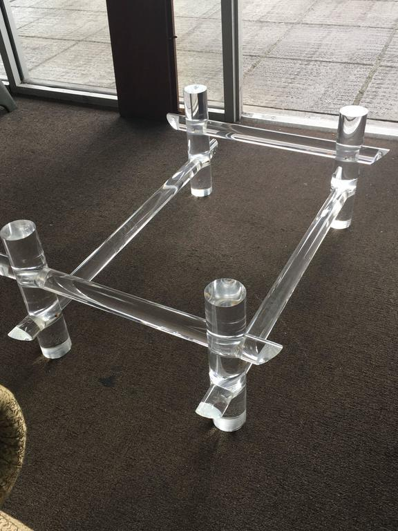 Mid 20th Century Vintage Hollywood Regency Lucite Faux Bamboo Coffee Table  For Sale   Image 5