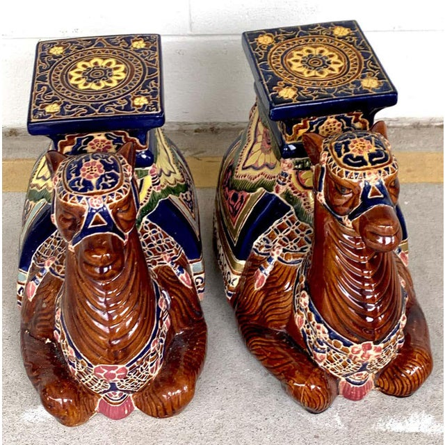 Hollywood Regency Pair of Hollywood Regency Moorish Majolica Camel Garden Seats For Sale - Image 3 of 5