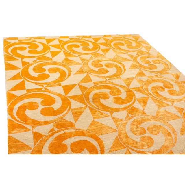 "Contemporary Contemporary Hand Knotted Golden ""Kaleidoscope"" Rug For Sale - Image 3 of 11"