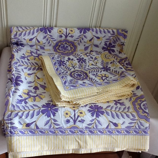 Yellow Tuscany Style Tablecloth & Napkins - Set of 8 For Sale - Image 8 of 10