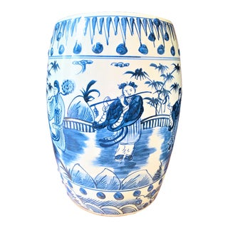 Chinoiserie Porcelain Blue and White Flutist Garden Stool For Sale