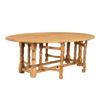 Antique Large English Oak Drop Leaf Dining Table For Sale