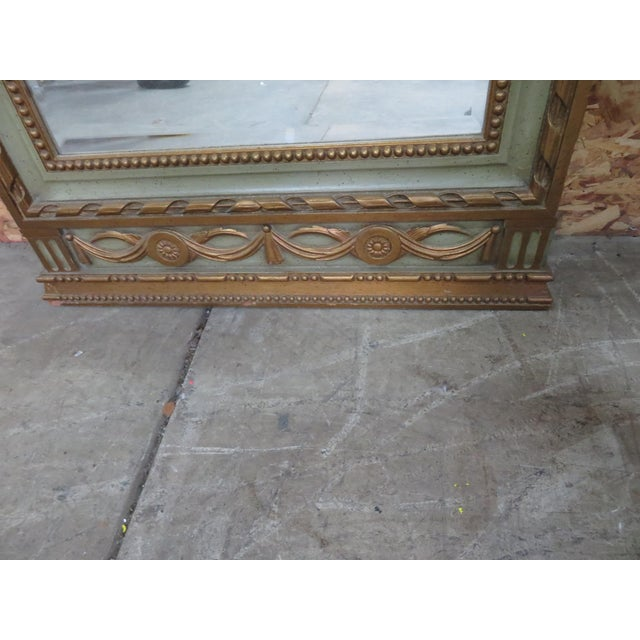 Italian Italian Style Carved Green & Gold Mirror For Sale - Image 3 of 5