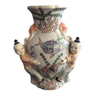 Vintage Maitland Smith Chinoiserie Wall Pocket Vase For Sale