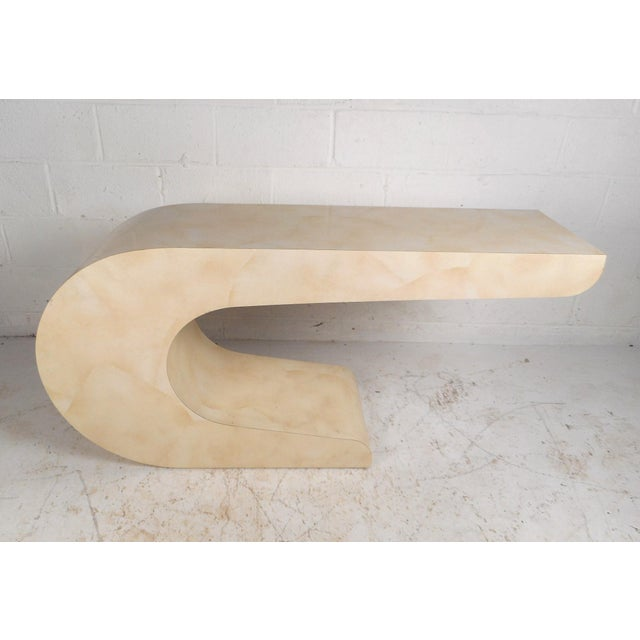 Tan Vintage Modern Karl Springer Style Console Table For Sale - Image 8 of 8