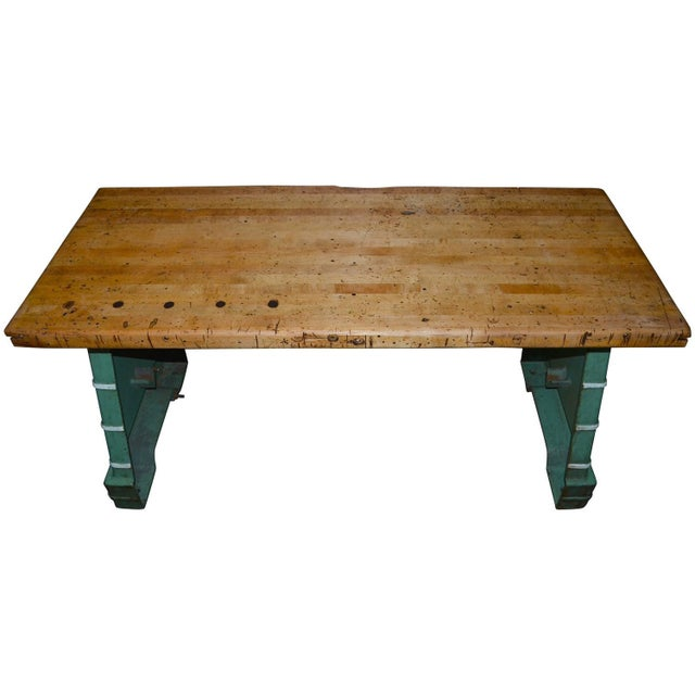 Industrial Maple Top Work Table - Image 1 of 10