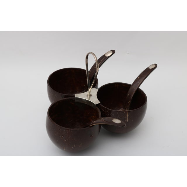 Vintage Coconut Shell Garnish Bowl & Spoons - Image 2 of 7