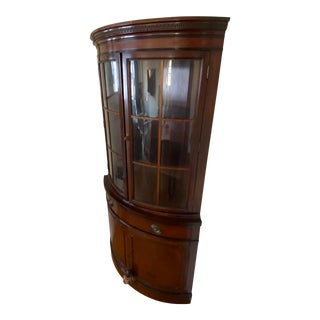 Mahogany Corner Cabinet W/ Curved Glass Doors For Sale