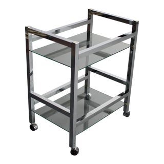 GLAMOROUS Chrome Mirrored Bar Cart / Tea Cart For Sale