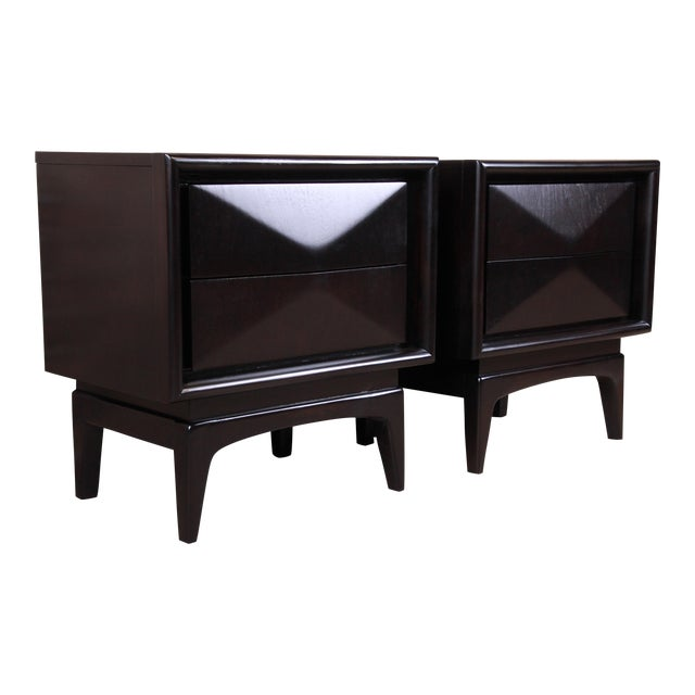 Mid-Century Modern Ebonized Sculpted Walnut Diamond Front Nightstands by United, Newly Refinished For Sale