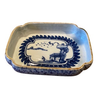 1950s Vintage Blue and White Asian Rectangle Bowl or Dish For Sale