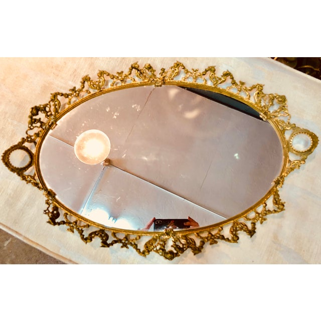 Early 21st Century Brass Ormolu Mirrored Tray For Sale - Image 5 of 5