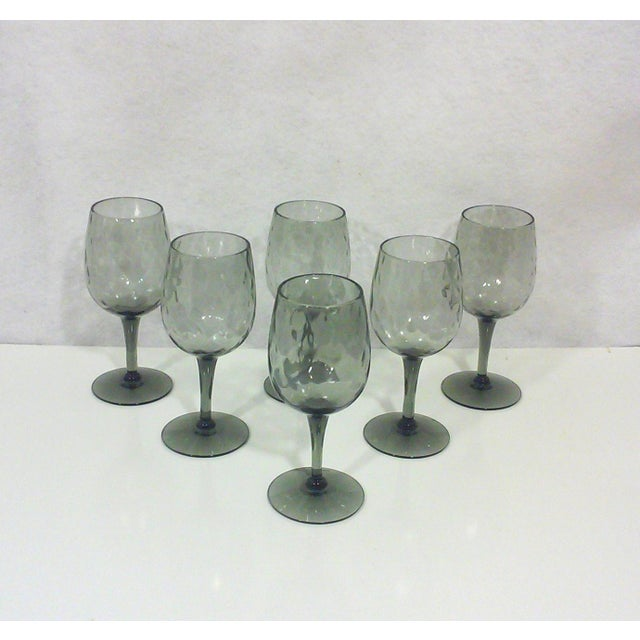 Empoli Italian Smoked Glass Cordial Stemware - Set of 6 For Sale - Image 4 of 5
