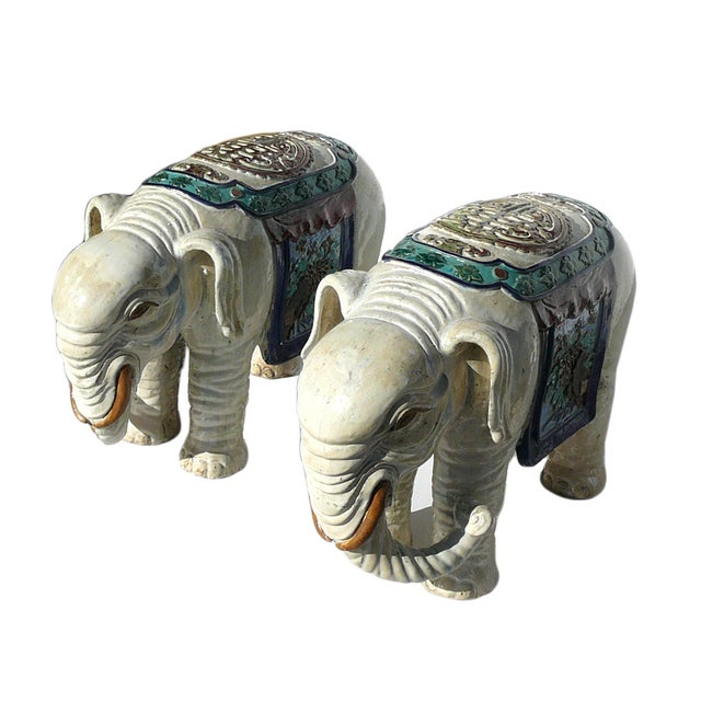 Asian Ceramic Off White Oriental Elephant Figures - Pair For Sale - Image 3 of 7