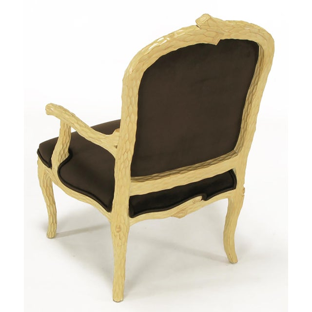 Pair of Faux Bois and Velvet Louis XV Style Fauteuils - Image 4 of 10