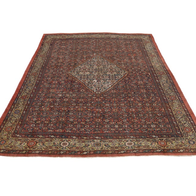 "Art Deco Antique Persian Mahal Rug - 8'6"" X 10' For Sale - Image 3 of 5"