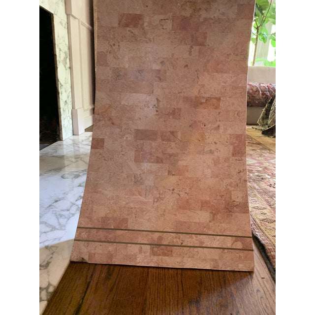 1980s Hollywood Regency Maitland -Smith Tessellated Pink Scroll Marble Console Table For Sale - Image 11 of 13