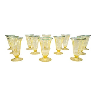 Rare Set of 12 Durand Hand Blown Tumblers Applied Green Rims For Sale