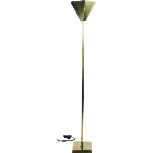 Relco Milano 1980s Brass Torchiere For Sale - Image 10 of 10